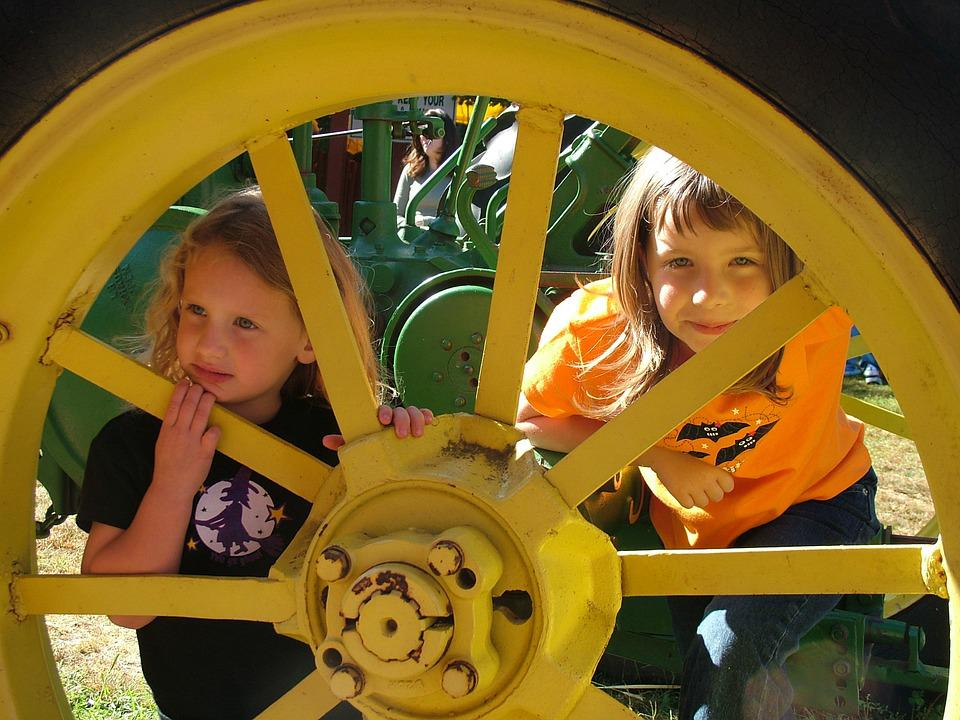 Girls, Happy, Young, Smiling, Hiding, Playing, Tractor
