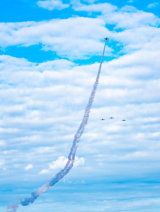 Jet, Missing Man, Aircraft, Formation, Aviation, Smoke