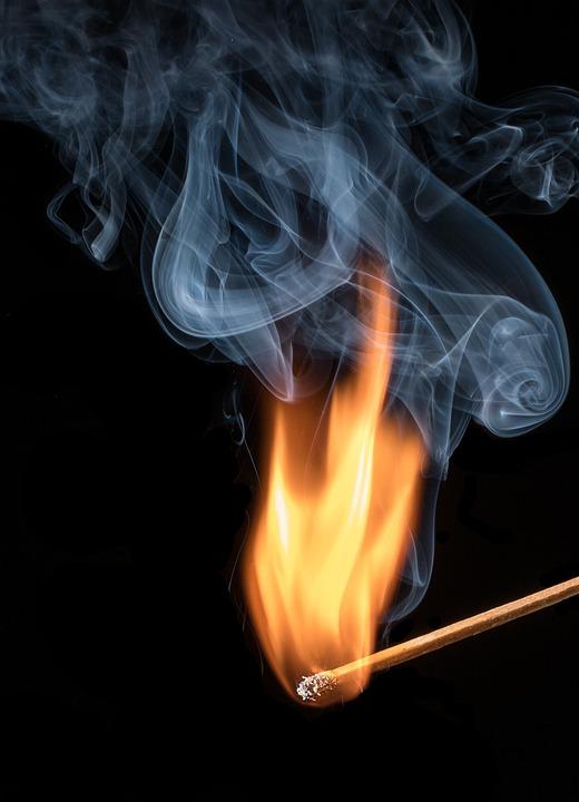 Matchstick, Flame, Smoke, Burn, Burning, Fire, Match