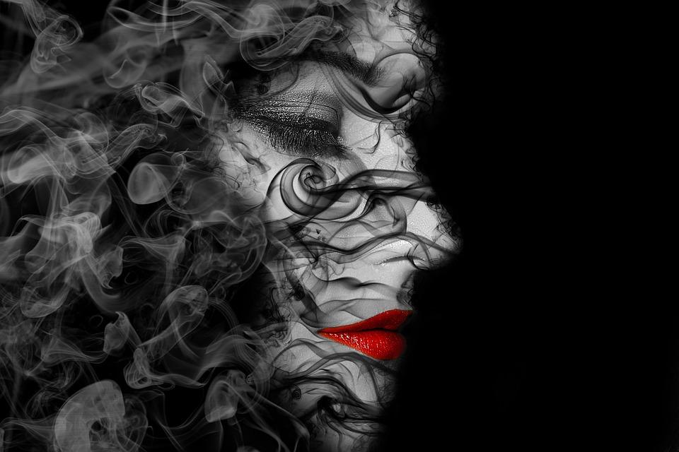 Woman, Face, Human, Dispersion, Head, Art, Smoke