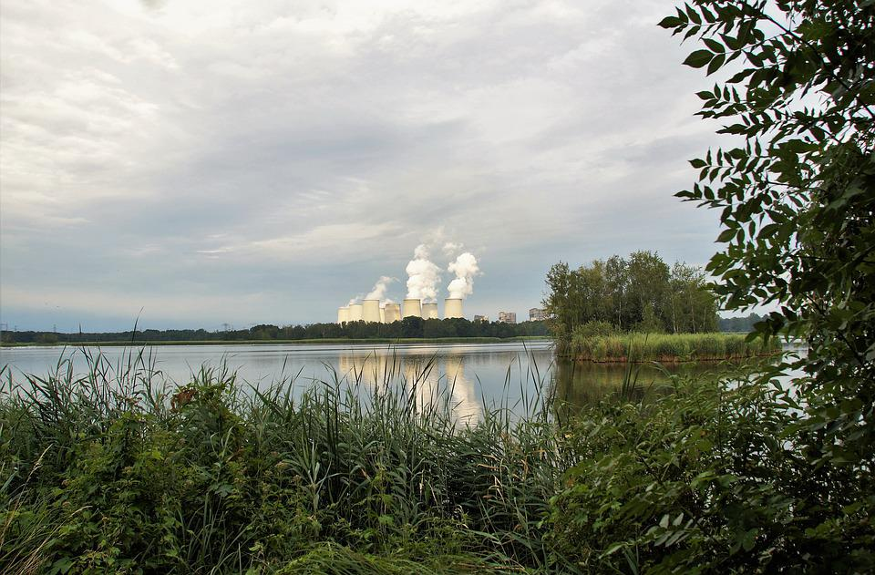 Power Station, Chimneys, Smoke, Industry, Lake, Ecology