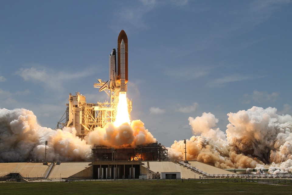 Rocket Launch, Smoke, Rocket, Take Off, Side View, Nasa