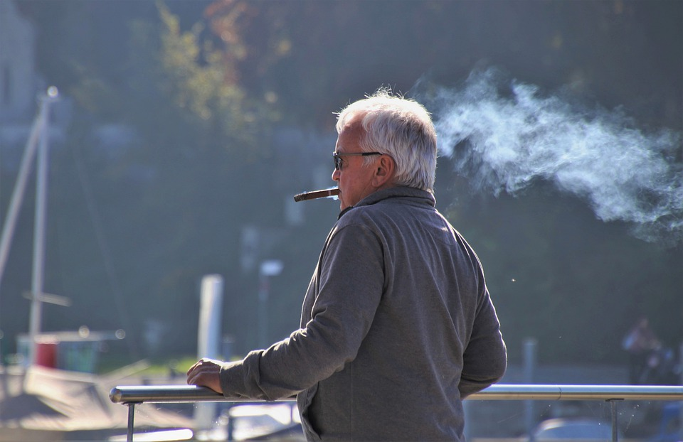 Senior, Cigar, Addiction, Tobacco, Gray, Smoke, Port