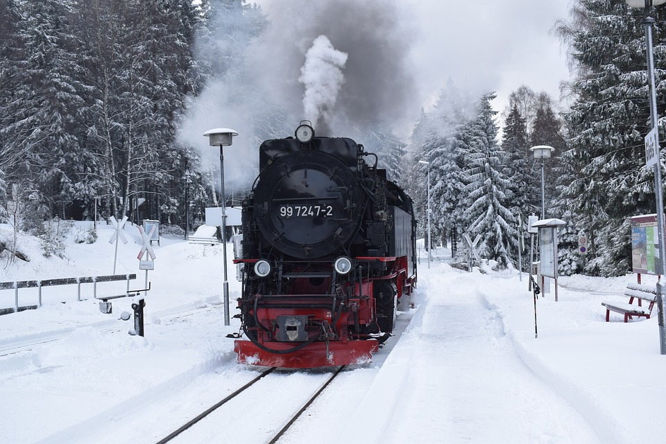 Railway, Locomotive, Steam Locomotive, Smoke, Snow