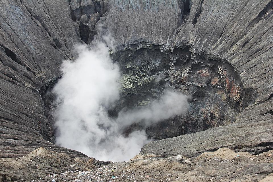Smoking Crater, Crater, Active Volcano, Volcano, Smoke
