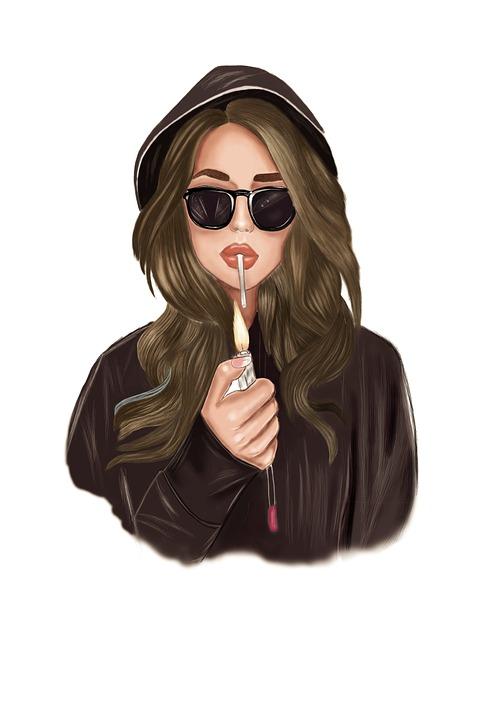 Girl, Cigarette Lighting, Cigarette, Smoking