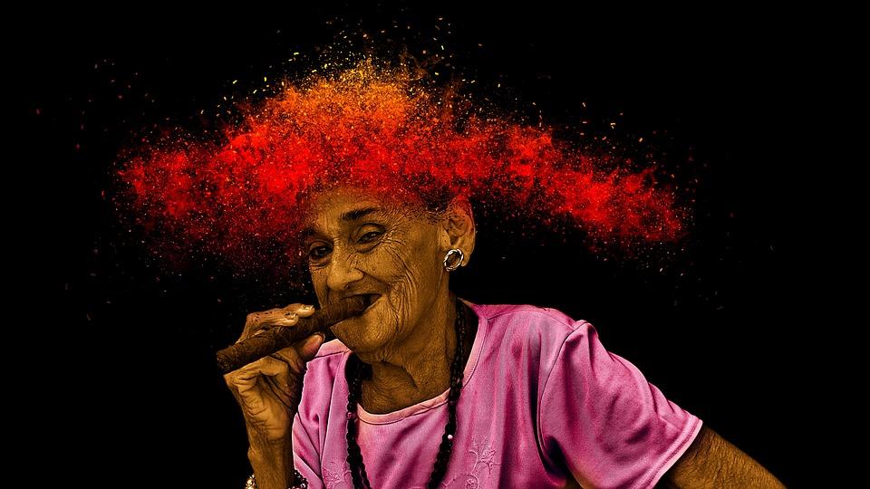 Woman, Cuba, Cigar, Smoking, Havana, Portrait, Person