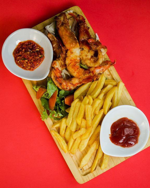 Prawns, Appetizer, Snack, Seafood, Delicious, Fries