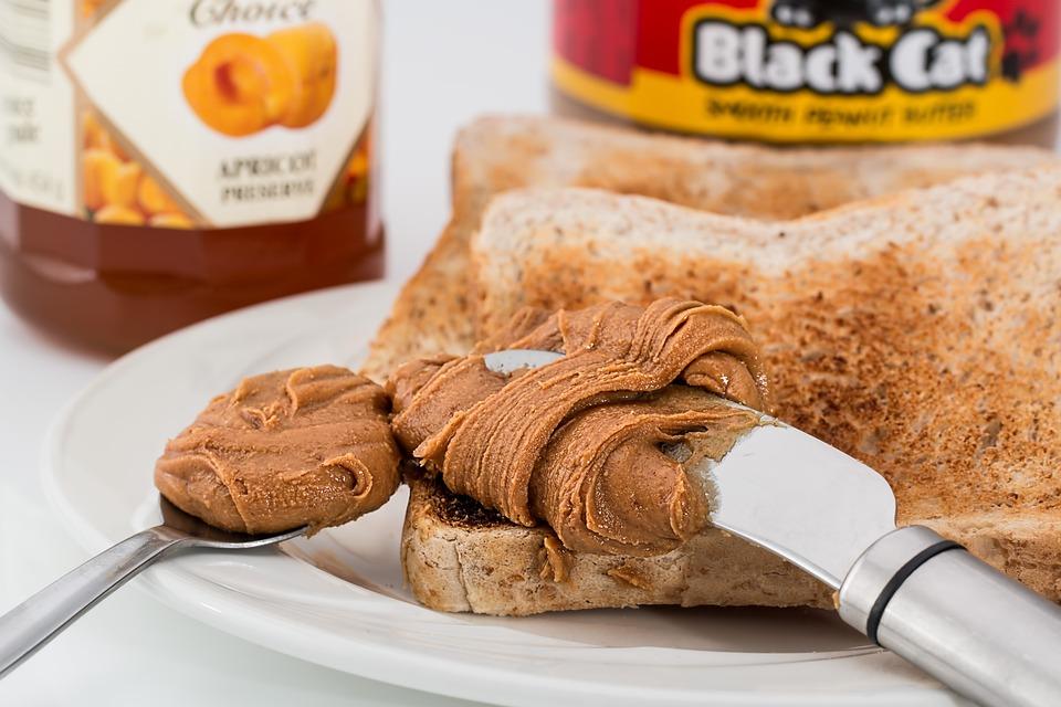 Peanut Butter, Toast, Jam, Breakfast, Snack, Spread