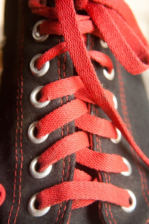 Converse, Laces, Black, Shoes, Red, Sneakers, Fashion