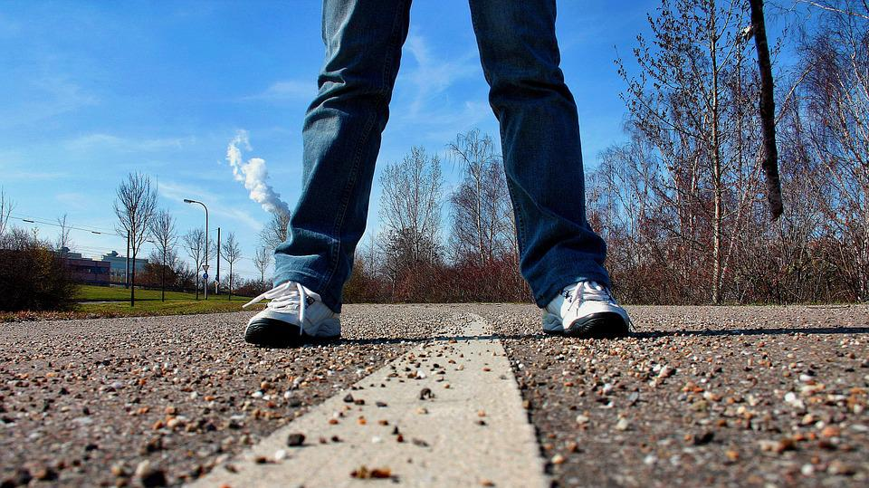 Sidewalk, Road, Stand, Feet, Perspective, Sneakers