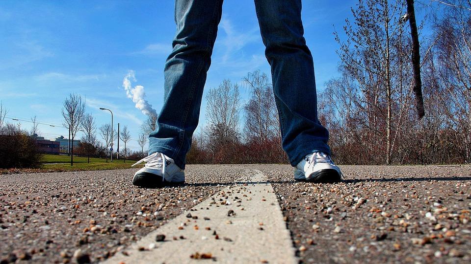 Sidewalk, Road, Stand, Feet, Perspective, Sneakers