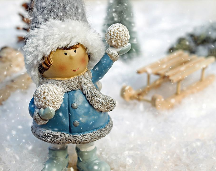 Girl, Figure, Snow Ball, Throw, Snow, Snowflakes