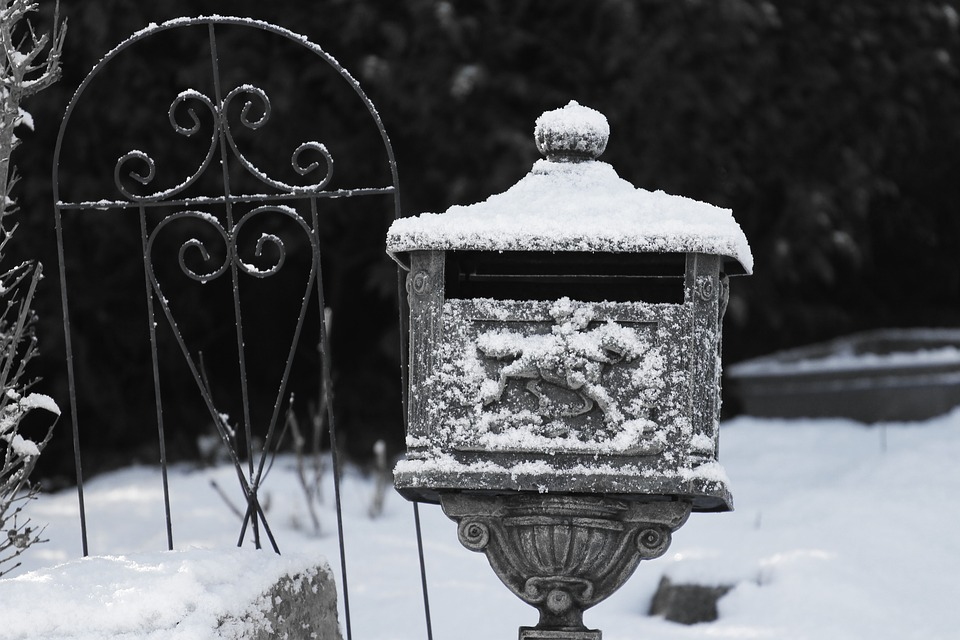 Letters Box, Black And White, Snow