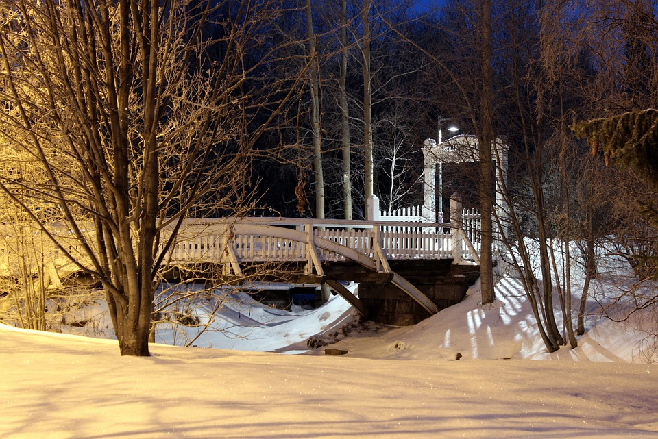 Oulu, Finland, Winter, Snow, Stream, Bridge, Night