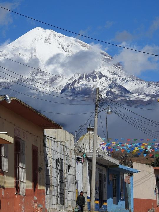 Pico De Orizaba, Town, Landscape, Snow, Buildings