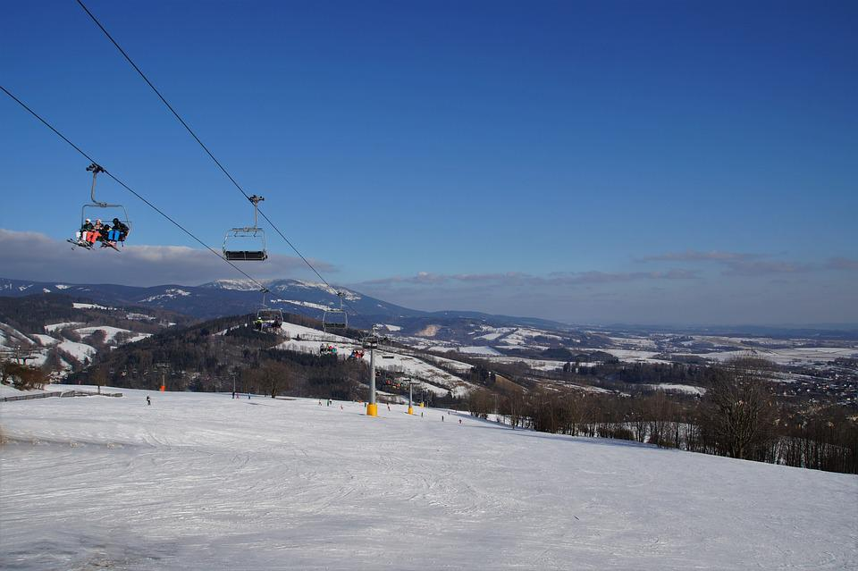 Cableway, Seater, Skiers, Winter, Mountains, Snow