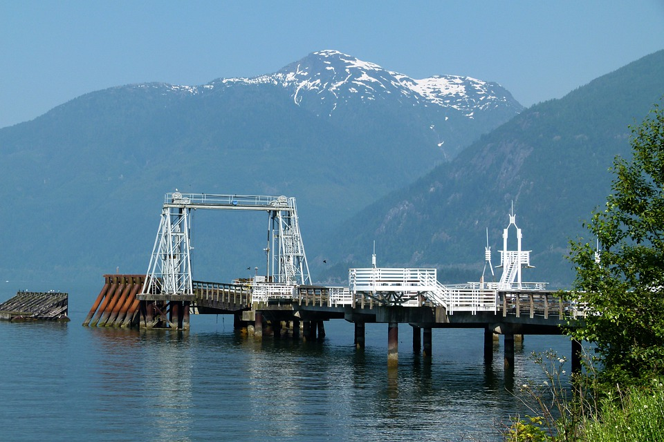 Pier, Mountains, Water, Pacific, Snow Caped