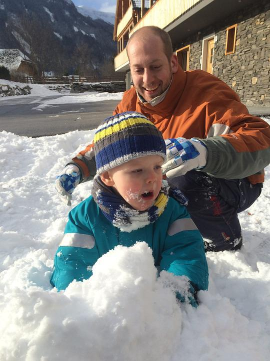 Child, Father, Snow, Play, Winter, Emotions, Grandson