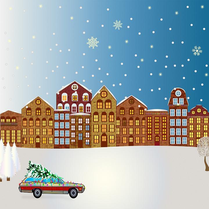 Christmas Town, Christmas Car, Christmas Tree, Snow
