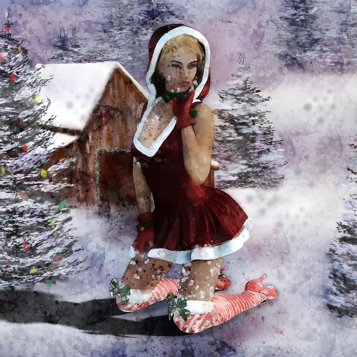 Christmas Motif, Winter, Snow, Decorative, Santa Hat