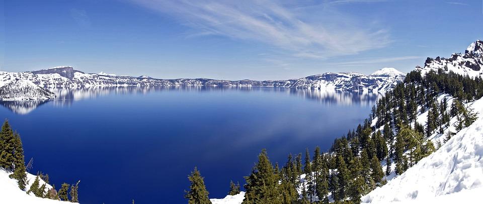 Crater Lake, Panorama, Winter, Snow, Cold, Season
