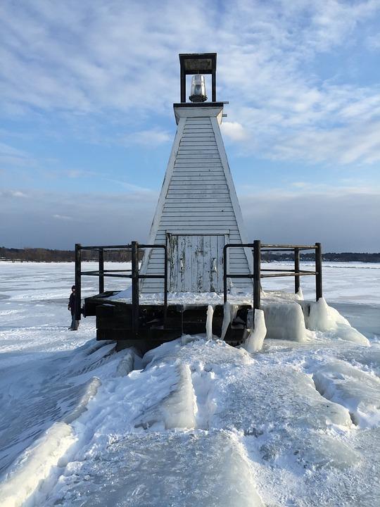 Lighthouse, Frozen, Vermont, Winter, Snow, Cold, Sky