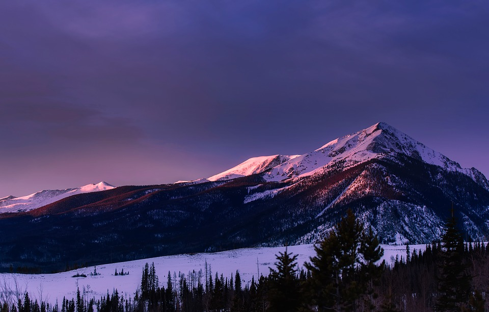 Colorado, Mountains, Meadow, Winter, Snow, Sunset, Dusk