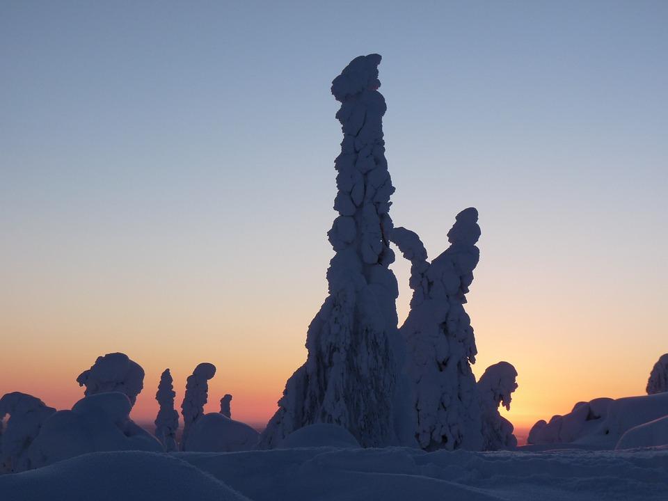Finland, Snow, Lapland, Snow Landscape, Setting Sun