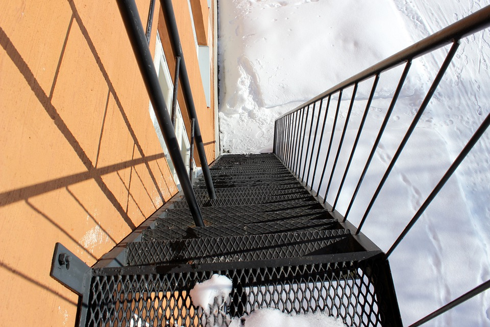 Fire Escape, Stairs, Outside, Winter, Snow, Ice