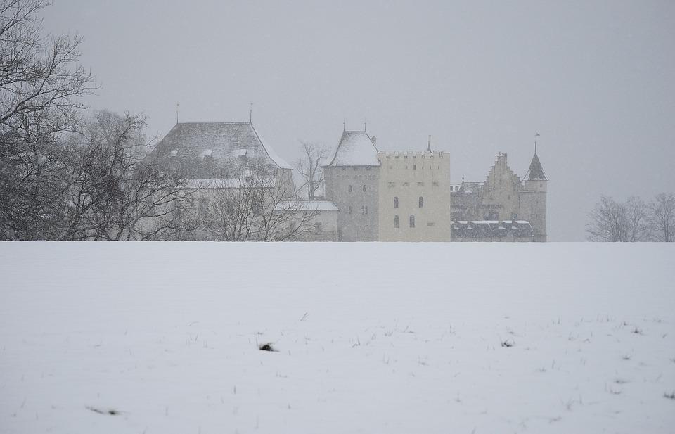 Closed Lenzburg, Winter, Snow Flurry, Snowfall