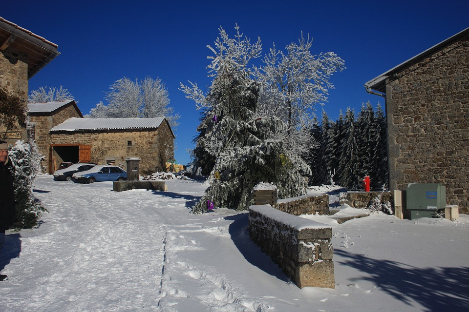 French, Village, House France, Snow, Winter, Auvergne