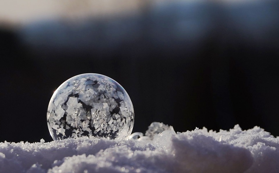Winter, Ice, Frozen, Snow, Bubble