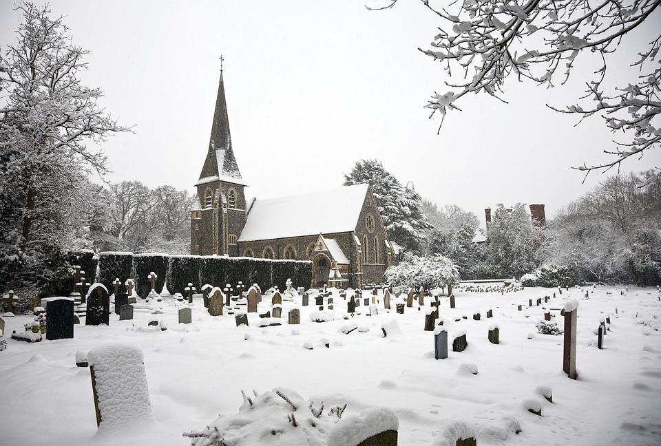 Church, Graveyard, Snow, Grave, Religious, Stone