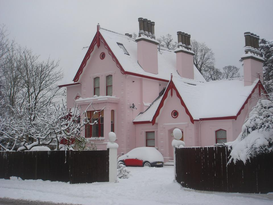 House, Snow, Pink, London, Winter, Holiday, Christmas