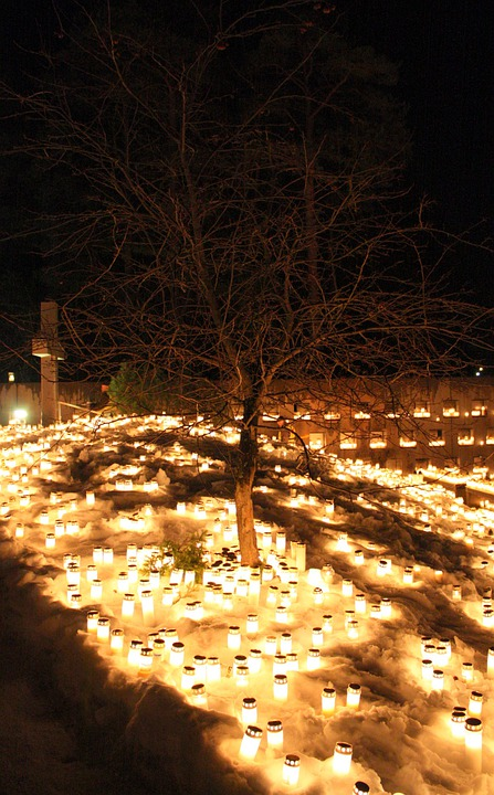 Oulu, Finland, Winter, Snow, Ice, Candles, Night