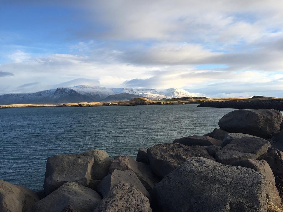Iceland, Sea, Mountain, Stone, Winter, Snow