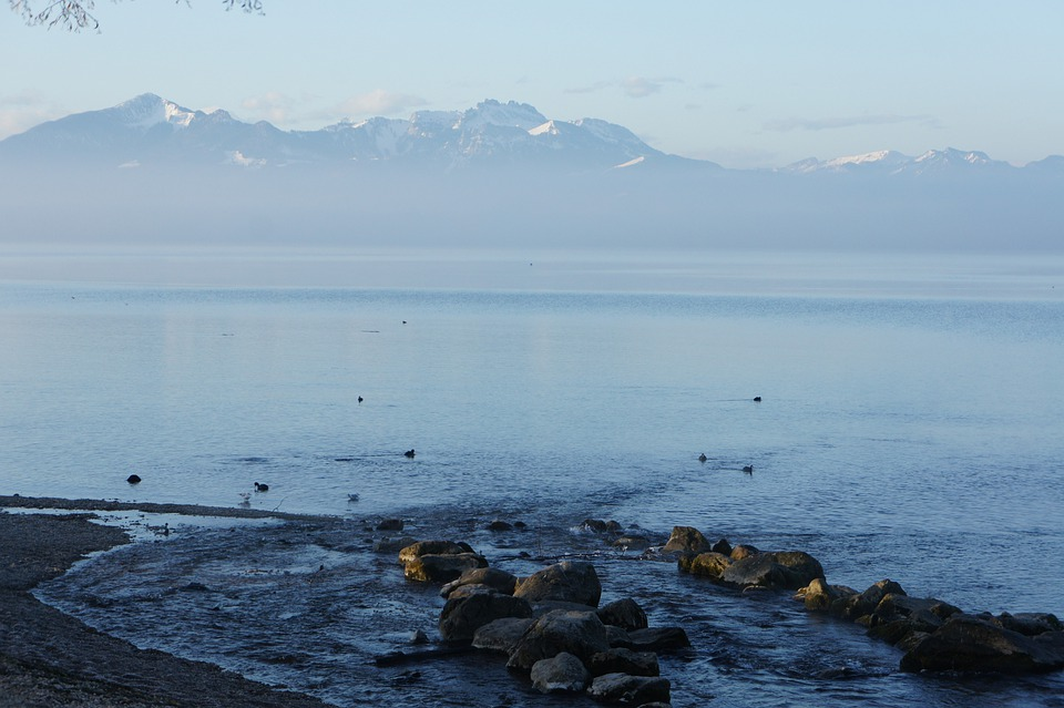 Chiemsee, Mood, Lake, Water, Mountains, Snow, Winter