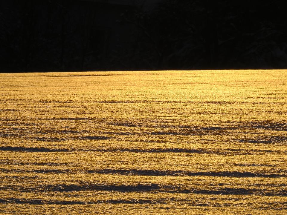 Snow Landscape, Snowfield, Back Light, Sun, Sparkle