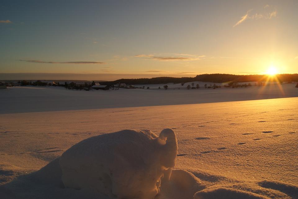 Sunrise, Winter, Snow Lane, Icy