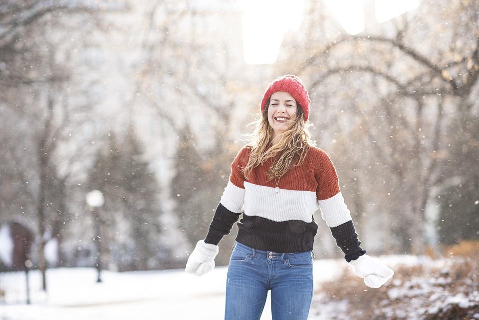Woman, Portrait, Snow, Happy, Laughing