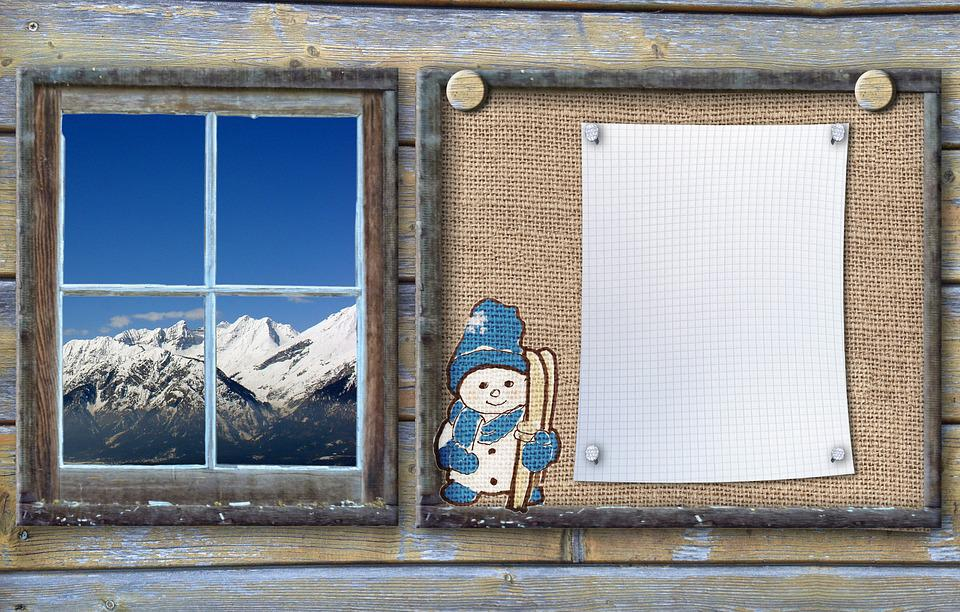 Bulletin Board, Winter Sports, Snow Man, Wood, Blue