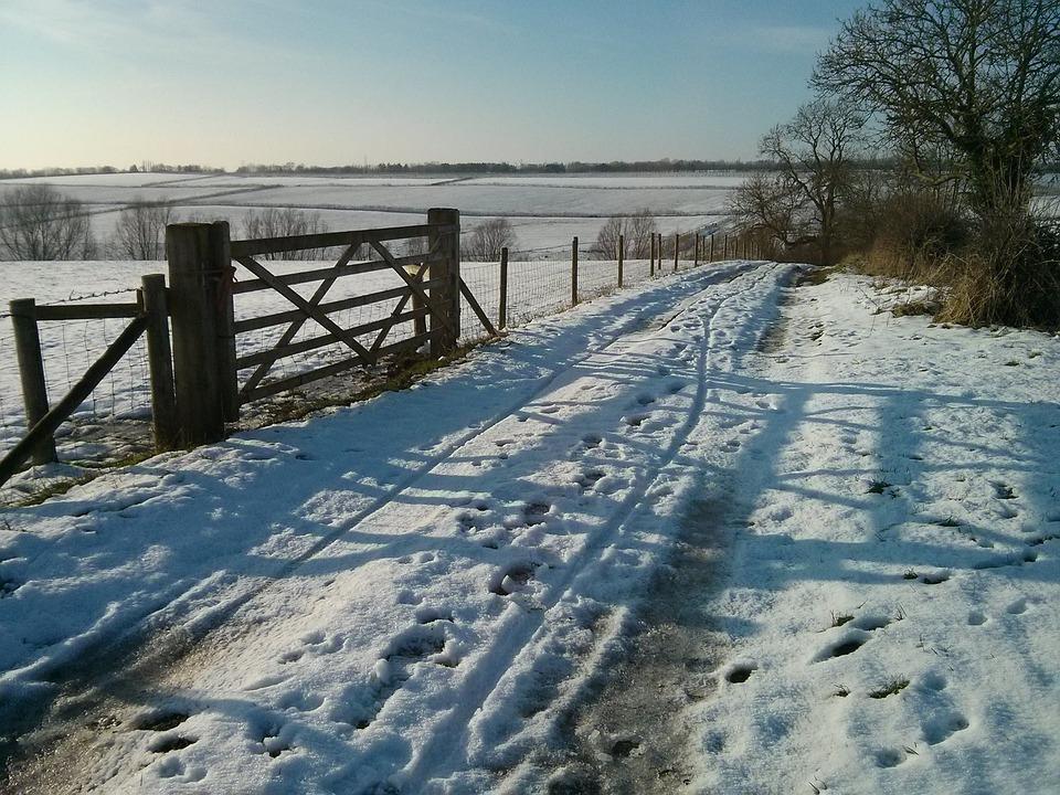 Snow, Landscape, Melton Mowbray, Gate, Fields