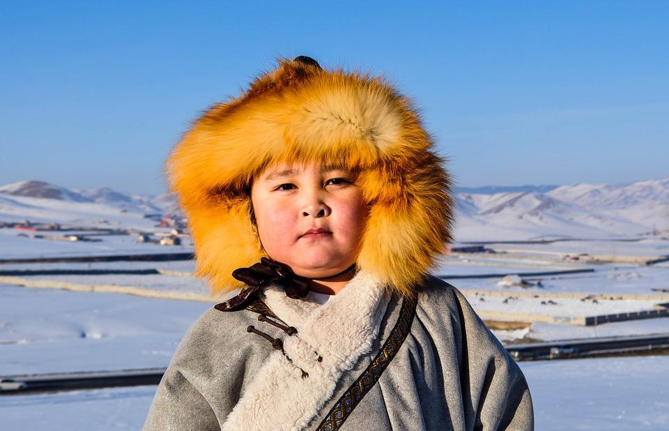 Boy, Winter, Kid, Mongolia, Snow, Cold, Hat, Fur