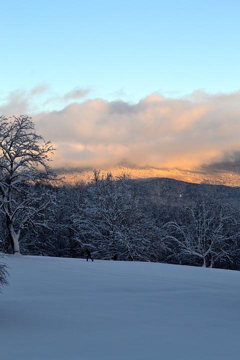 Mountain, Snow, Winter, Trees, Sunset, Landscape