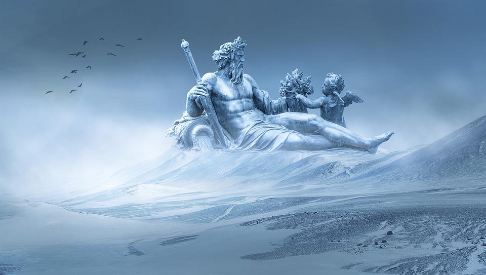 Snow, Statue, Mountain