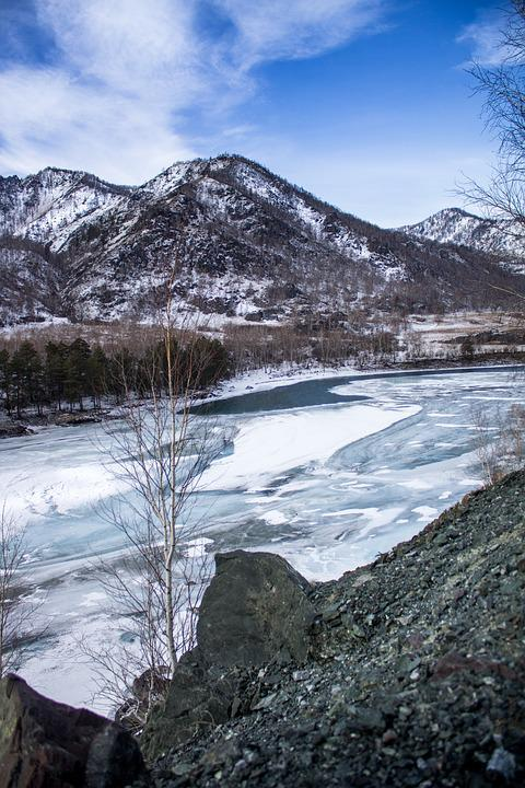 Nature, Mountains, Landscape, River, Ice, Snow, Clouds