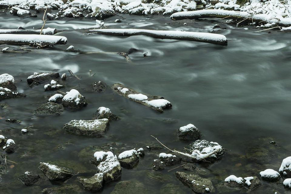 Snow, Snowy, Winter, Nature, River, Long Exposure