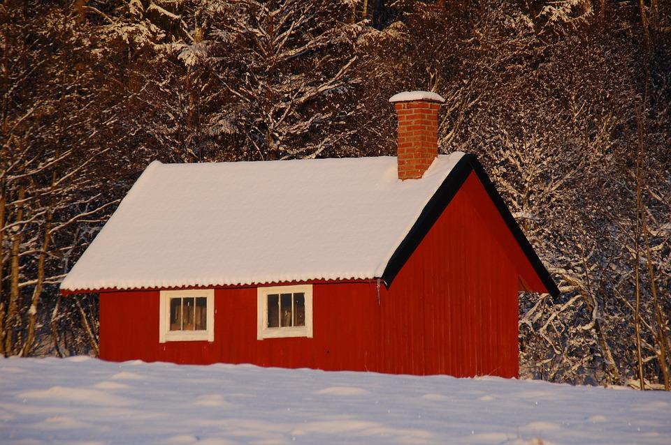 Red Cottage, Cottage, Snow, Winter, Rural, Wooden