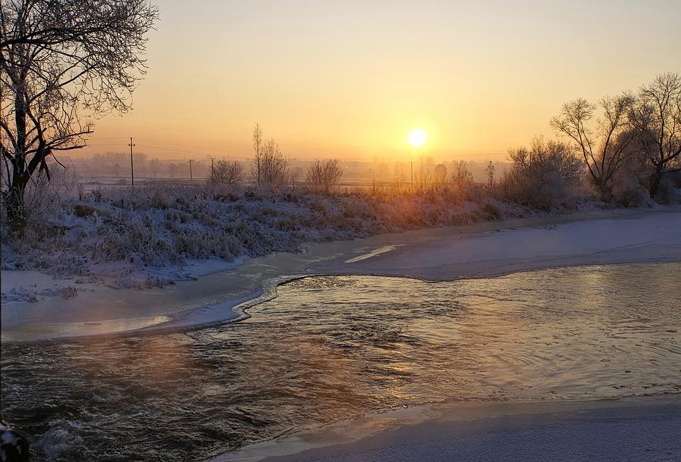 River, Winter, Sunset, Frost, Landscape, Nature, Snow